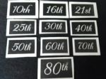 "Giant Anniversary & Birthday numbers (mixed) for etching  16th  18th  21st  30th  40th  50th  3"" high"